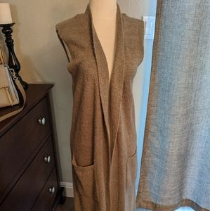 Long, gray sleeveless duster cardigan